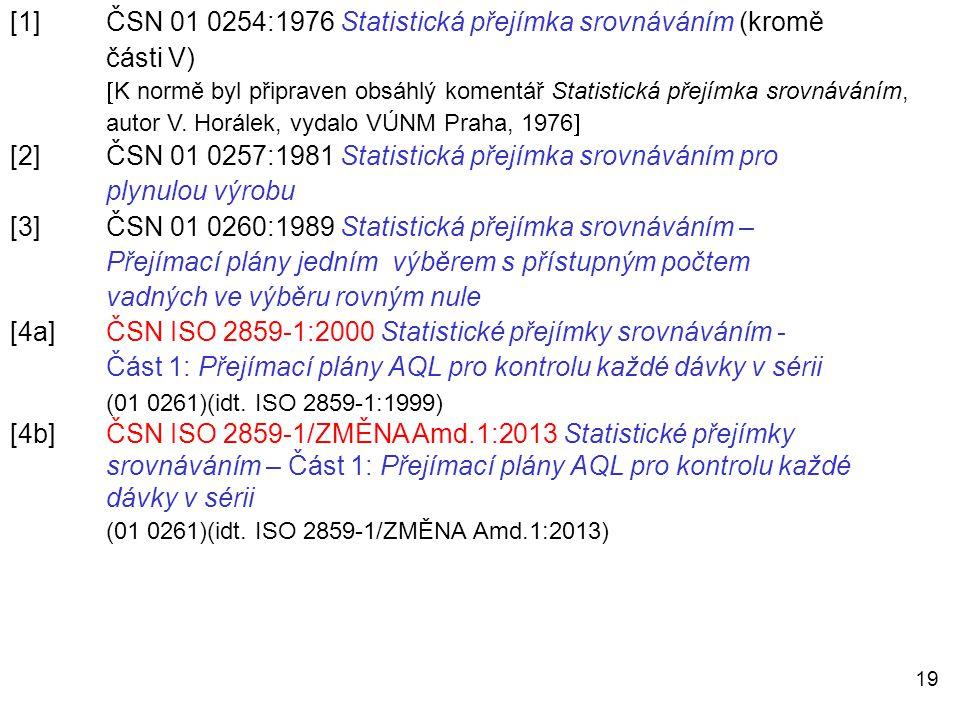 [1] ČSN 01 0254:1976 Statistická přejímka srovnáváním (kromě části V)